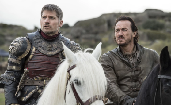 Jaime Lannister (Nikolaj Coster-Waldau) and Bronn (Jerome Flynn) in 'Spoils of War'