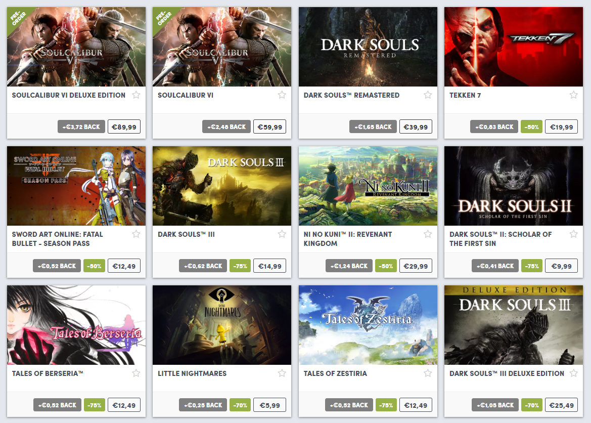 Big discounts on Bandai Namco Games at Humble Bundle