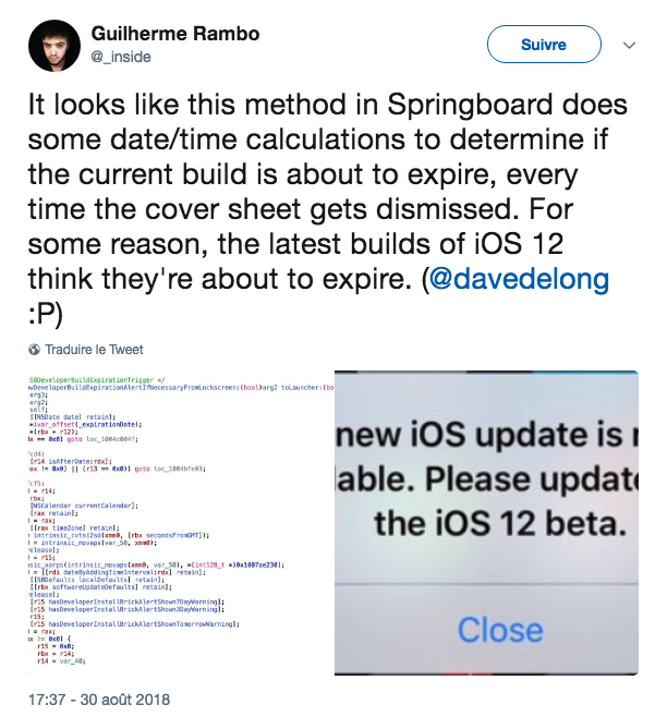 iOS 12 update pop up bug