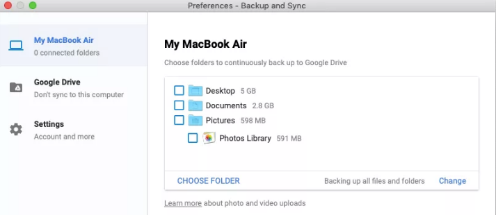 Google's Backup and Sync app