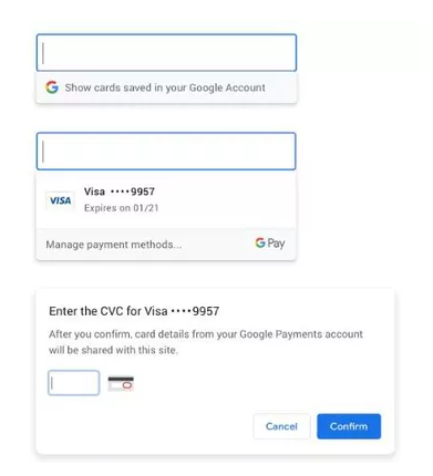payment in Google Chrome