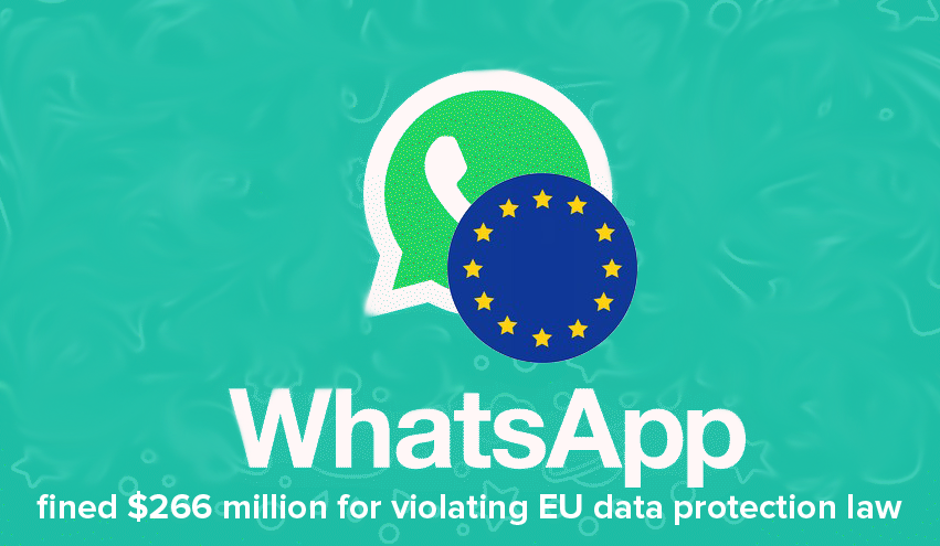 whatsapp fined $266 million for violating EU data protection law